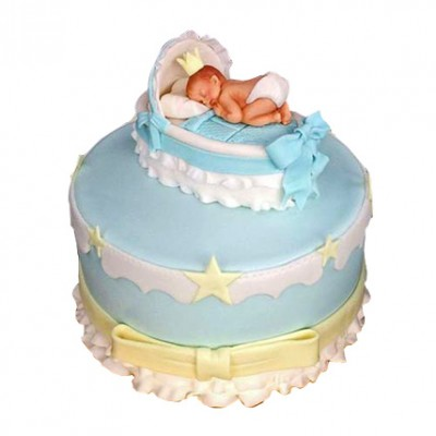 Baby In The Crib Fondant Cake